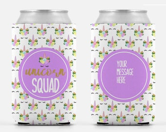 Unicorn Squad Bachelorette Birthday Can Cooler Party Huggers