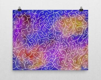 Colorful vines original unique watercolor painting enhanced matte paper poster art print