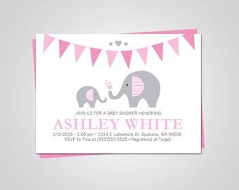 Baby shower invitation/Baby shower invitation elephant/Elephant Baby Shower/Baby Shower invitation girl digital/Baby shower invitation girl