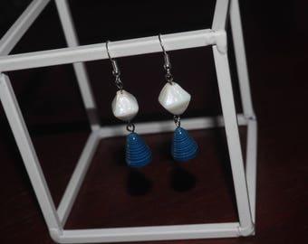 Handmade Blue Paper Earrings