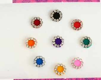 13 Plain Round Bridal Colored Bindis,Wedding Round Bindis,Velvet Colorful Bindis,Colorful Face  Bindi,Bollywood Bindis,Self Adhesive Sticker