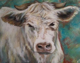 Pensive Cow - original acrylic painting