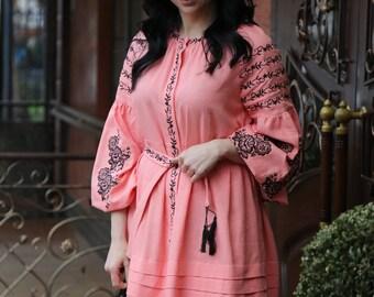 "Women vyshyvanka. Traditional Ukrainian women's embroidered--dress with flowers ""Blackbird"". Black embroidery on a peach linen cloth."