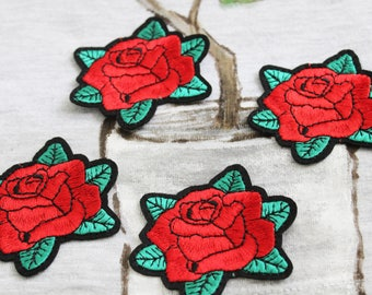 Blooming red rose iron on patch, embroidered patch, flower patch, denim patch, DIY