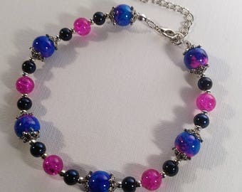 Blue and Pink Bracelet with Silver Chain