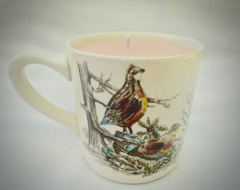 Johnson Brothers Game Birds Vintage Mug With Hand Poured Coconut Wax & Soy Wax Candle, 2-in-1 Scents: Mulled Wine and Brown Sugar Crumble