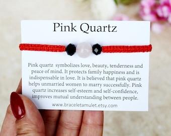 Pink Quartz bracelet Chakra bracelet Red String bracelet Stone amulet Protection gemstone Womens gift Energy bracelet Bracelet gift