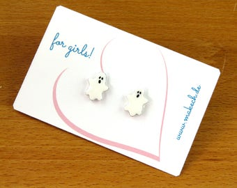 Ghost Girl Jewelry Kids jewelry ghost stud Earrings Halloween Silver 925