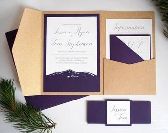 Rustic Mountain Invitation, Colorado Wedding Invitation Kits, Rustic Kraft Paper Wedding Invite, Outdoor Wedding Invite Set, Purple, Kraft