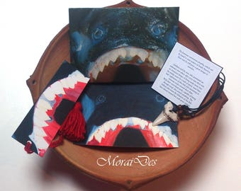 Dyed card and bookmark Piranha-Gift History lovers-chain-envelope-fish-shark tooth-South America-