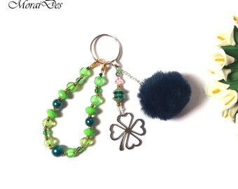 St. Patrick's Day Keychain - Four Leaf Clover Keychain - Green Keychain - Pom Pom Keychain - Lucky Hunch - Green Beads