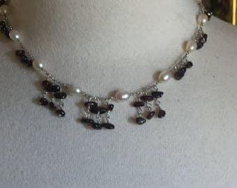 Sterling Silver Fresh Water Pearls with Garnet