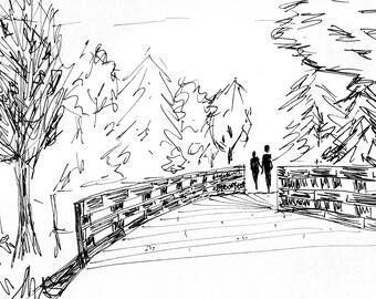 Bridge Walk Sketch [001] Original, Prints, and Cards