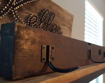 Vintage wood level coat rack
