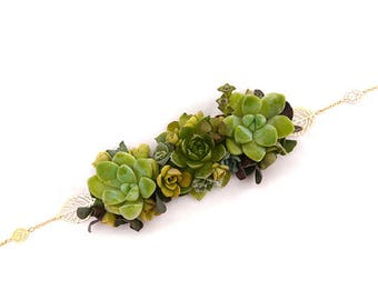 Headband Dianelys : couronne de fleurs / mini plantes grasses, coiffure mariage végétale, parure mariage, baptême, soirée événementielle