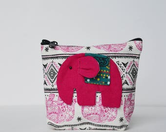 Pink on Pink Elephant coin purse
