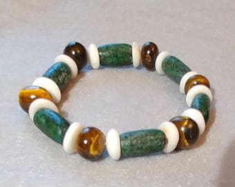 Unique Betel Nut and Tiger's Eye Bracelet