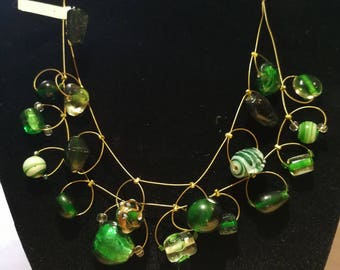 Necklace with Designer glass beads, green