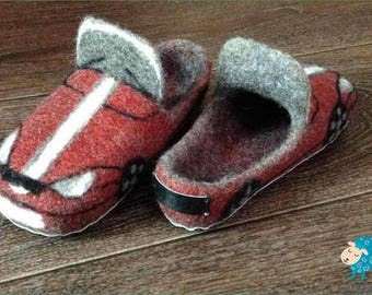 Warm kids felted slippers Cars 100% Handmade Indoor shoes