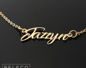 Name Necklace, 15 Font Style To Choose, Dainty Name Charm, Any Name, Baby Girl Name Necklace, Personalized Name Jewelry Gold Plated 18k
