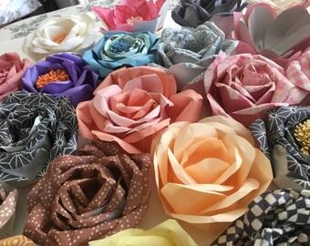 Paper flowers, flower arrangements, back drop, centerpiece