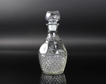 Princess House Thumbprint Diamond Pattern crystal decanter grapes crown - vintage