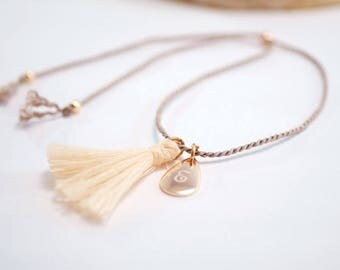 Anklets with engraving ~ drop ~ silk ~ Rosé gold