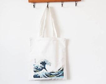 Japanese Style Hokusai printing tote bag