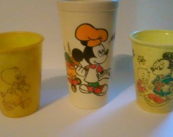 Walt Disney Vintage Childrens Glasses - Lot of 3 - Mickey Mouse Donald Duck