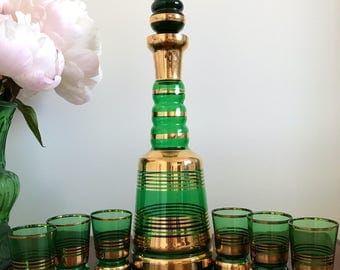Mid Century Bohemian Green Glass Decanter and Glasses Set | Gold | Liqueur | Vintage Barware | Boho