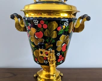 Vintage Hand Painted Electric Samovar | Soviet Russian Metal Tea Carafe | Working | Black, Gold and Red | Folkart | USSR