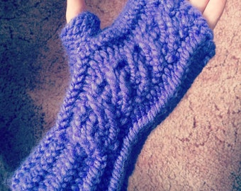 Hand Knitted Cable Fingerless Mittens