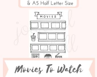 Movies to Watch: Bullet Journal Printable