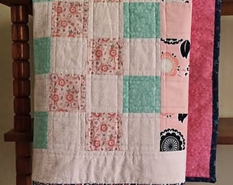 Baby Girl Quilt Pink-Mint Baby Shower Baby Blanket