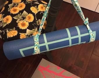 Blue floral yoga mat strap