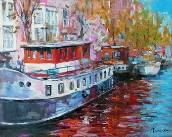 AMSTERDAM BOATS Original Oil Painting 16x20in Canvas Netherlands Dutch Landscape Cityscape Canal Houseboats Water Reflections Street Scene