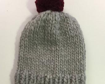 Chunky Knitted Beanie Hat + Pom Pom (100% Wool) - Grey/Burgundy Contrast
