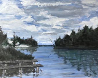 lakeside-original acrylic painting by artist Tony Minicucci