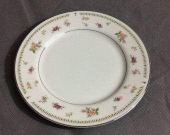 Vintage Abingdon Fine Porcelain China White with Pink & Orange Roses Bread Dessert Plate Made in Japan
