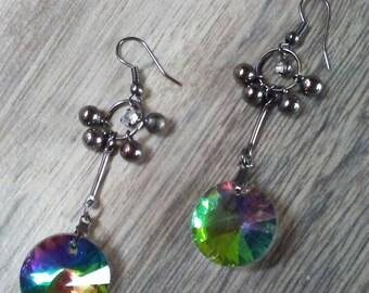 Rainbow Crystal Earrings Sparkly Crystal Earrings Long Sparkly Earrings Rainbow Earrings