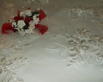 White Beaded Floral Lace