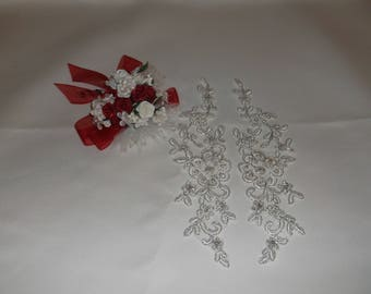 Small Silver/Rhinestone Sequin Flower Applique