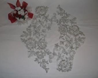 Large Silver/Sequin/Rhinestone Beaded Flower Applique