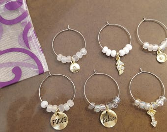 Set of Six Focus and Believe Wine Glass Charms Wine Glass Charms Gift Set Wine Charms