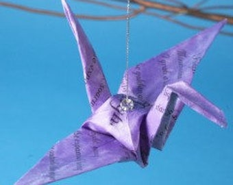 Poetry Takes Flight Origami Crane with Poem