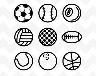 Sports Balls SVG Bundle | Sports svg | Soccer Ball svg | Football svg | Volleyball svg | Silhouette Cricut | Baseball svg cut file |