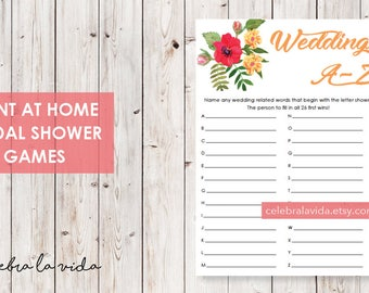 Wedding A-Z Bridal Shower Game. Instant Download. Printable Bridal Shower Game. Yellow Flowers. Red and Orange - 02