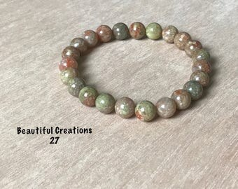 gemstone bracelet / autumn jasper bracelet / gifts for her / beaded bracelet / chakra jewerly / yoga bracelet