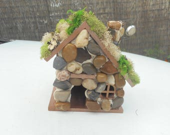 Fairy Garden, OOAK Birdhouse with river rocks and moss