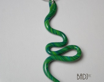 Green and blue snake pendant necklace